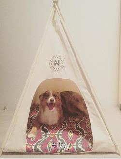36 Large Dog Teepee Pet Tent -36 base Natural Canvas PICK YOUR PILLOW or Custom Order it