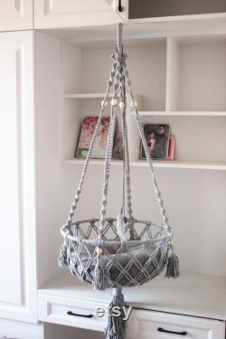 5mm Heavy Duty Cotton Rope Macrame Cat Bed, Macrame Cat Basket, Hanging Cat Swing, Macrame Cat Hammock, Hanging Cat Basket, Hanging Cat Bed