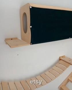 9-Pc Modern Cat Furniture for 8' Wall, Incl Wall Mounted Cat Bed House, Cat Tunnel, 45 Cat Bridge, Cat Stairs, Various Cat Wall Shelves