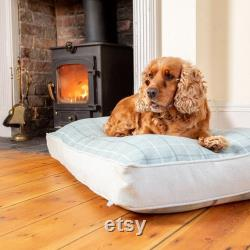 Balmoral Twist Dog Cushion Bed in Duck Egg One Cushion Two Looks