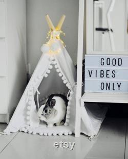 Bed for Rabbit Pet Bed from Natural Cotton, Bunny Teepee with Pom Pom Pad
