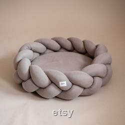 Beige Kolosony Dog Bed Hunting Pony Braided Dog Bed Scandinavian Home Decor Small Medium Large Bed for Dog or Cat