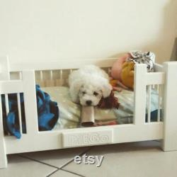 Bespoke Shabby Chic wooden wood pet bed dog bed dog cot pet cot