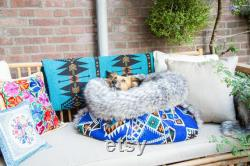 Blue kilim velvet faux fur snuggle sack cuddle cave travel bed anti-anxiety dog bed anxiety relief nest bed