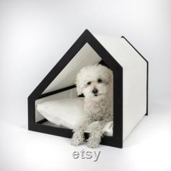 Boho pet bed, wood and linen dog bed, cat bed, 100 linen off-white natural fabric, indoor pet house bed, pet furniture