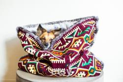 Burgundy kilim velvet faux fur snuggle sack cuddle cave travel bed anti-anxiety dog bed anxiety relief nest bed