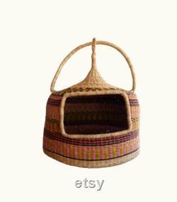 Cat Bed, Pet Bed, Cat Basket, Pet Furniture, Handmade Cat Bed,Bolga Basket, African Basket