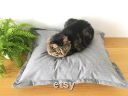Cat Bed in Organic Cotton Canvas, Blue and White Cat Bed, Eco Friendly Cat Bed, Kitten Bed, Recycled Cat Bed, Modern Cat Bed, Luxury Cat Bed