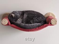Cat Hammock, Cozy Cat Bed Unique Cat Gift for Cat Lover, Wall Mounted Cat Shelf, Perch Brick color