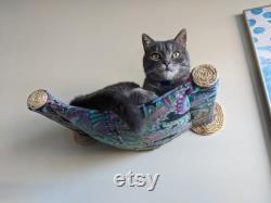 Cat Hammock Floating Cat Bed Cat Scratching Climbing Post Wall mounted Pet Furniture Paisley Print with Two Sisal Steps