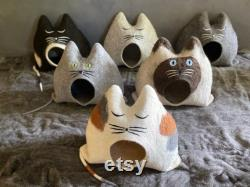 Cat House BOBBY dark grey cat cave, unique, cuddly cave, handmade, gift idea, Christmas gift, birthday gift