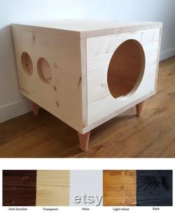 Cat House, Bunny House, Small Dog Bed, Pet Furniture, Cat Bed, Cat Hideaway, Rabbit Hideaway, Modern Pet Cabinet made of spruce wood