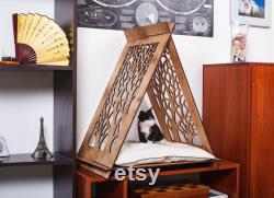Cat bed Modern pet teepee house indoor Small dog furniture Unique Christmas gift for cat lovers Wood pet supplies FREE ENGRAVING