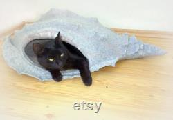 Cat bed cat cave cat house Seashell Gray felted cat cave.