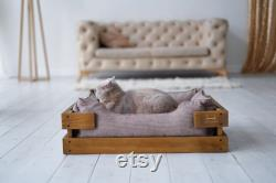 Cat bed made Durable corduroy fabric with natural wooden frame. Grey colour. XS-L sizes. Cover is removable and machine washable