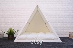 Cool White Solid Pine Wood Dog Bed, Wood Dog Bed, Cat Bed, Teepee Bed, Wood Pet Bed, Pet Furniture, Dog Furniture, Triangle Series, WLO