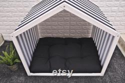 Cool White Solid Pine Wood Dog Bed,Wooden Pet House, Cat Bed, Wood Dog House, Pet House, Pet Furniture, Dog Furniture, Sweet Home Series WLO