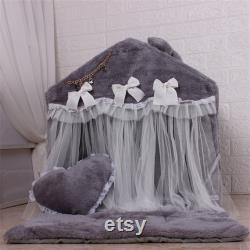 Coral Velvet Tent House For Pets Soft Kennel Warm Thick Cushion Pet Nest Kitten House Dog Bed Cat Bed Pet Stand House