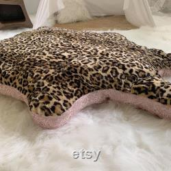 Cow Hide Pet Bed, Pet Bed, Dog Bed, Leopard Print Dog Bed, Plush Pet Bed, Fluffy Dog Bed
