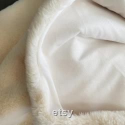 Customized Faux-Fur Pet Blanket Personalized Pet Blanket Grey and Cream Large size