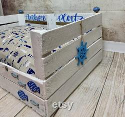 Dog basket dog bed dog furniture animal bed dog pillowwooden box Favorite place wooden box Customizable box Maritim anchorage coast