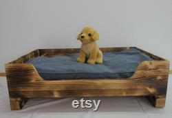 Dog bed dog pillow dog basket berth for the dog or cat cozy bed for the pet in wood flamed size S, M