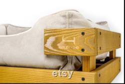 Dog bed wooden frame Nature Vanilla velvet Wood frame bed for dog Small dog bed medium dog bed Large dog bed Extra dog bed