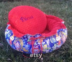 Drawstring-Style Dog Bed with Memory Foam Cushion, Bear, and Pillows