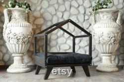 Elevated Indoor Dog Bed Cat Bed Dog House Solid Wood Dog Bed Pet Sleeping Place Cat Pillow Pet Furniture Wooden Pet House Cat Cot Dog Sofa