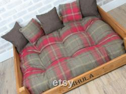 Extra Large Personalised Rustic Wooden Dog Bed In Red Check Wool Feel Fabric