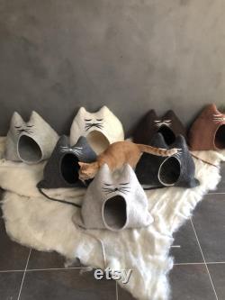 FINDUS Tiger Cat House Beige, Handmade, Unique, Cat Cave, Cat, Gift, Wool, Cat Bed, Cat Lover, Cat Furniture