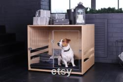 FREE SHIPING Wooden dog crate with acrylic front panel and door with a latch Dordrecht. Dog kennel, dog house, dog bed, indoor dog house.