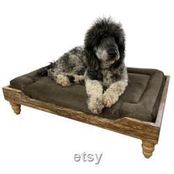 Farm House Dog Bed, Orthopedic Memory Foam, Surge Smoke, Washed Oak Frame, Farmhouse Style (Multiple Fabric Colors)