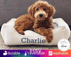 Farmhouse Dog Bed, Bolster Dog Bed Grain Sack Stripe, Goldendoodle Dog Bed, Reproduction Feed Sack, Vintage Dog Bed Gift for Dog Owner