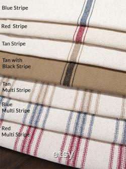 Farmhouse Dog Bed, Grain Sack Dog Bed, Country Dog Bed Red Stripe, Blue Stripe, Black Stripe, Tan Stripe Washable
