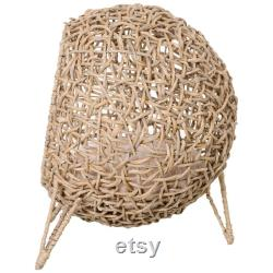 Faux Wicker Dome Cat Bed with a Removable Cushion
