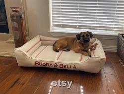 Feed Sack Bolster Dog Bed with Insert Red Stripe, Blue Stripe, Tan Stripe or White Stripe Reproduction Grain Sack Fabric