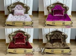 Gold Baroque Oak Pet bed, Dog bed, Pet Furniture, Luxury pet sofa, Carved wood, Quilted velvet, Engraved name plate, Antique look, Bespoke