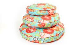 Grand Floral Round Dog Bed, Tropical Floral Dog Bed in 3 Sizes, Pet Furniture