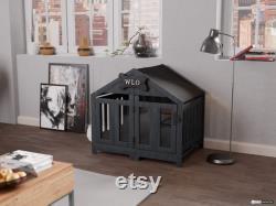 Gray and Black Gabled Modern Dog Crate, Dog Bed, Dog Crate, Dog Kennel, Wood Dog House, Pet House, Pet Furniture, Dog Furniture, WLO