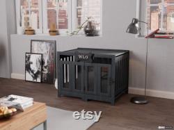 Gray and Black Pueblo Modern Dog Crate, Dog Bed, Dog Crate, Dog Kennel, Wood Dog House, Pet House, Pet Furniture, Dog Furniture, WLO