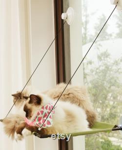 Green Cat Hammock Bed, Window Sill Cat Bed, Cat Window Perch, Cat Shelf Seat, Suction Cup Cat Bed House, Fashion Cat Furniture