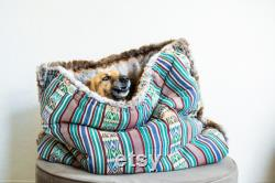 Green Thai Ethnic faux fur snuggle sack cuddle cave travel bed anti-anxiety dog bed bohemian deco puppy pocket