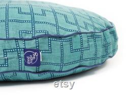Gridlock Round Dog Bed, Green and Blue Geometric Pattern Dog Bed in 3 Sizes, Pet Furniture