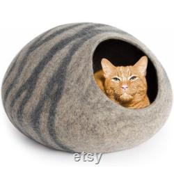 Handmade Natural Wool Cat Cave Handcrafted Felted Wool Cat Cave Bed for Cat and Kittens Felted from 100 Natural Wool
