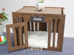 Handmade Wood Dog Kennel Pet Furniture Wood Dog Kennel Wooden Dog Kennel Wood Dog Crate Modern Dog House Dog Mom Gift