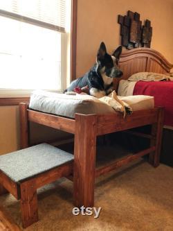Large Dog Bed with Step or Ramp-Wood Raised Dog Bed Elevated Dog Bed Platform Pet Furniture Wood Pet Bed Window Apartment Dog Bed