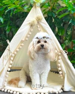 Large Dog Teepee Tent with Pom Poms Decor Modern Pet Furniture