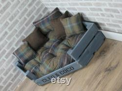 Large Personalised Grey Wooden Corner Dog Bed In Multi Colour Wool Feel Fabric
