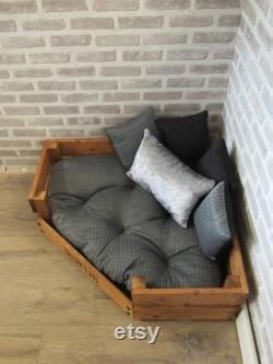 Large Personalised Rustic Wooden Corner Dog Bed In Grey And Black Upholstery Fabric